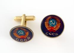 Hand Painted Russia 1 Kopek Hammer and Sickle Cuff Links