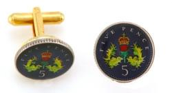 Hand Painted Scotland 5 Pence Crown and Thistle Cuff Links