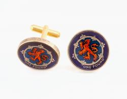Hand Painted Scotland 1 Pound Lion Cuff Links