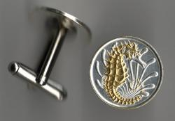 Gold and Silver on Silver Singapore 10 Cent Sea Horse and Sea Weed Cuff Links