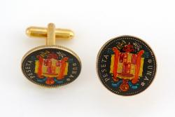Hand Painted Spain 1 Peseta 6-pointed Star Cuff Links