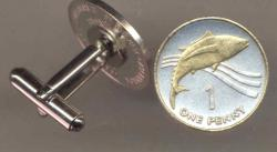 Gold on Silver St. Helena Island 1 Penny Tuna Fish Cuff Links