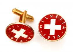 Hand Painted Switzerland 1 Rappen Red Cross Cuff Links