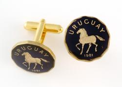 Hand Painted Uruguay 10 Centesimos Horse Cuff Links
