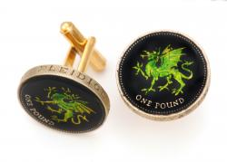 Hand Painted Wales 1 Pound Green Dragon Cuff Links