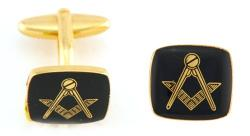 Hand Painted Masonic Medallion (Black/Square) Cuff Links