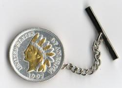 Gold and Silver on Silver Indian Head Cent Tie or Hat Tack