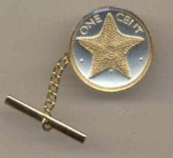Gold on Silver Bahamas 1 Cent Starfish Tie or Hat Tack