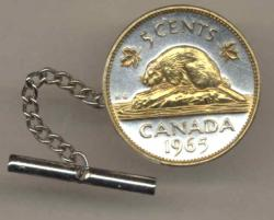 Gold on Silver Canada 5 Cent Beaver Tie or Hat Tack