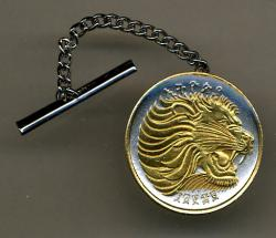 Gold on Silver Ethiopia 25 Cent Lion Tie or Hat Tack