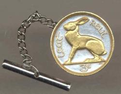Gold on Silver Ireland 3 Pence Rabbit Tie or Hat Tack