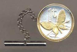 Gold on Silver Papa New Guinea 1 Toea Butterfly Tie or Hat Tack
