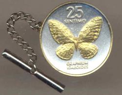 Gold on Silver Philippines 25 Sentimos Butterfly Tie or Hat Tack