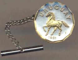 Gold on Silver Uruguay 10 Centesimos Horse Tie or Hat Tack
