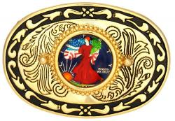 Hand Painted Walking Liberty Half Belt Buckle