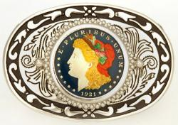 Hand Painted Morgan Dollar Belt Buckle