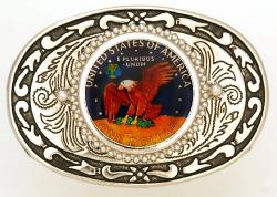 Hand Painted Eisenhower Dollar (Reverse) Belt Buckle