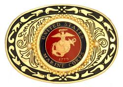 Hand Painted Marine Corp Belt Buckle