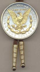 Gold on Silver Morgan Dollar (Rev) Bolo Tie