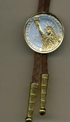 Gold on Silver Statue of Liberty Presidential Dollar Bolo Tie