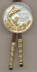 Gold on Silver Bahamas 50 Cent Blue Marlin Bolo Tie