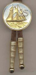Gold on Silver Cayman Islands 25 Cent Sail Boat Bolo Tie