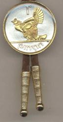 Gold on Silver Ireland 1 Penny Hen and Chicks  Bolo Tie