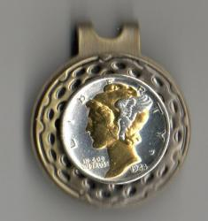 Gold and Silver on Silver Mercury Dime Hat Clip / Ball Marker