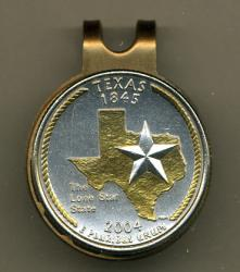 Gold on Silver Texas State Quarter Hat Clip / Ball Marker