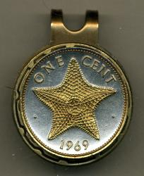Gold on Silver Bahamas 1 Cent Starfish Hat Clip / Ball Marker