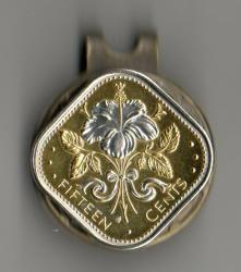 Silver on Gold Bahamas 15 Cent White Hibiscus Hat Clip / Ball Marker