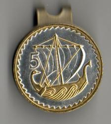 Gold and Silver on Silver Cyprus 5 Mils Viking Ship Hat Clip / Ball Marker