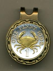 Gold on Silver Guernsey 1 Penny Crab Hat Clip / Ball Marker