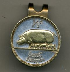 Gold on Silver Ireland 1/2 Penny Pig and Piglets Hat Clip / Ball Marker