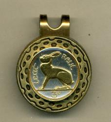 Gold on Silver Ireland 3 Pence Rabbit Hat Clip / Ball Marker