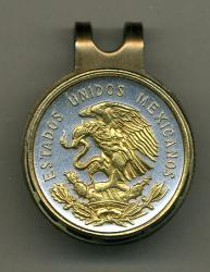 Gold on Silver Mexico 10 Centavo Eagle Hat Clip / Ball Marker