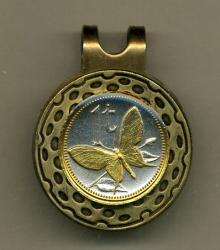Gold on Silver Papa New Guinea 1 Toea Butterfly Hat Clip / Ball Marker