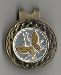 Gold and Silver on Silver Papa New Guinea 1 Toea Butterfly Hat Clip / Ball Marker