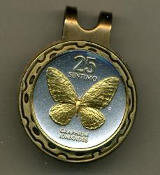 Gold on Silver Philippines 25 Sentimos Butterfly Hat Clip / Ball Marker
