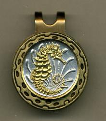 Gold on Silver Singapore 10 Cent Sea Horse and Sea Weed Hat Clip / Ball Marker
