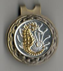 Gold and Silver on Silver Singapore 10 Cent Sea Horse and Sea Weed Hat Clip / Ball Marker
