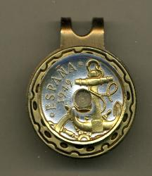 Gold on Silver Spain 50 Centimes Anchor and Wheel Hat Clip / Ball Marker