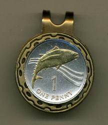 Gold on Silver St. Helena Island 1 Penny Tuna Fish Hat Clip / Ball Marker