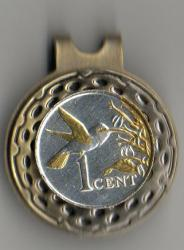 Gold and Silver on Silver Trinidad and Tobago 1 Cent Hummingbird Hat Clip / Ball Marker