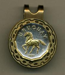 Gold on Silver Uruguay 10 Centesimos Horse Hat Clip / Ball Marker